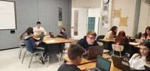 """<p>BHHS AP US Gov't and HCC 7th grade students working together for """"How a Bill Becomes a Law"""" simulation</p>"""
