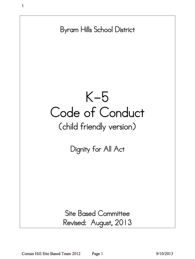 K-5 Code of Conduct