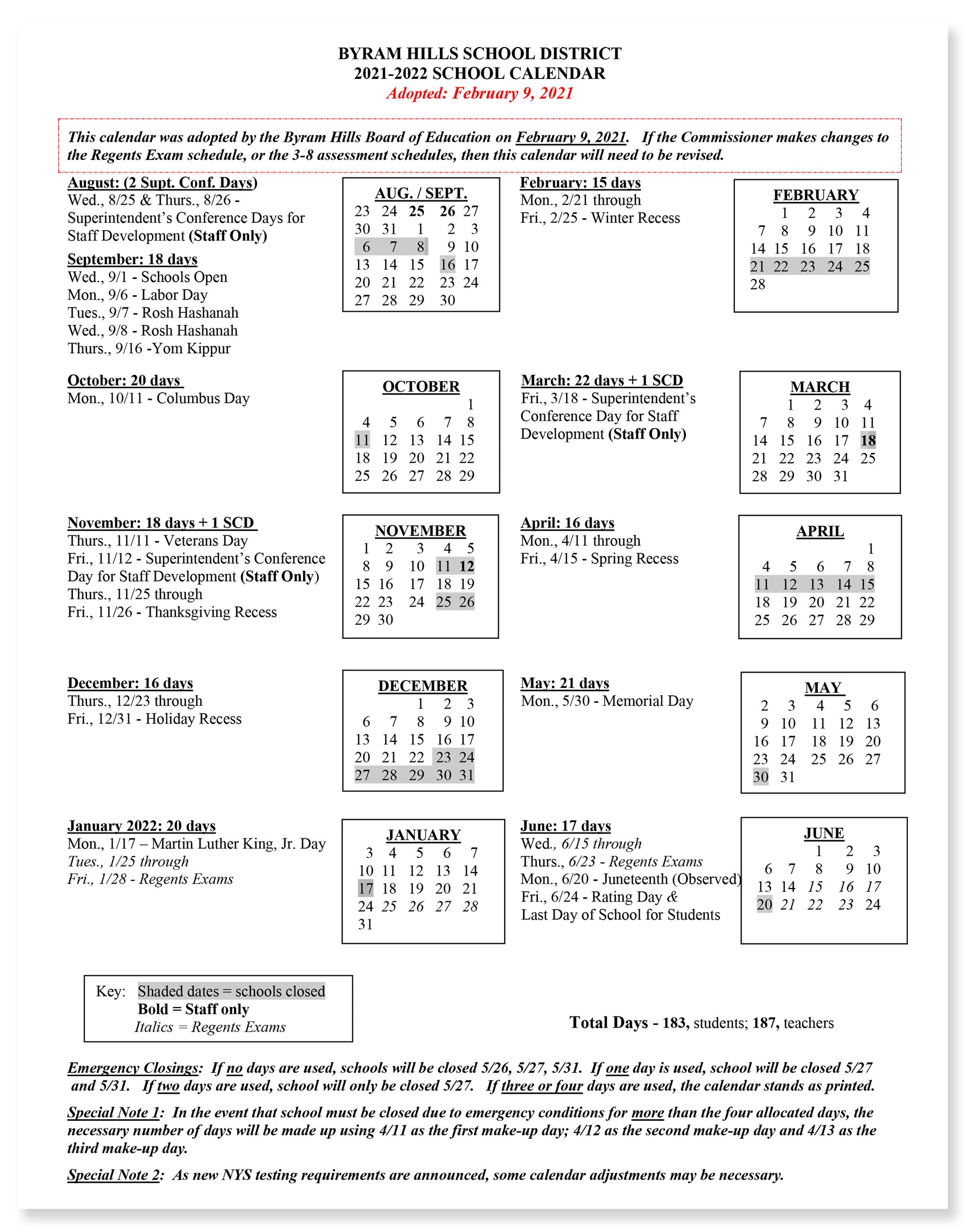 Hcc Calendar 2022.Calendar Byram Hills Central School District