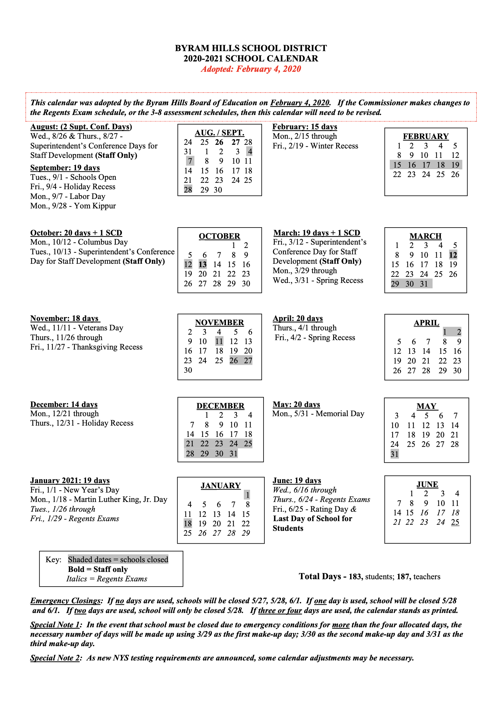 Calendar   Byram Hills Central School District