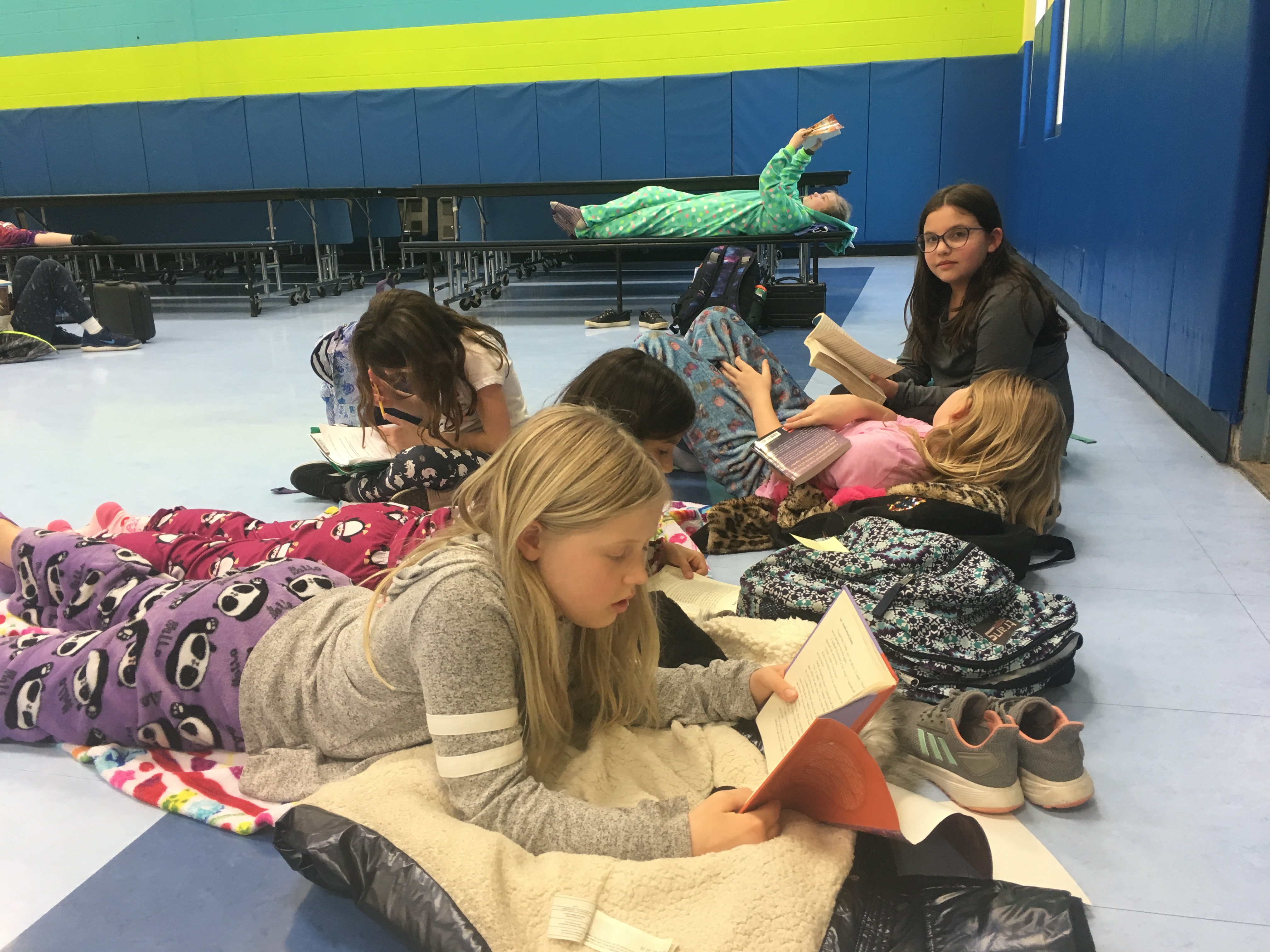 Students at Wampus Elementary School participating in a Read-a-Thon.
